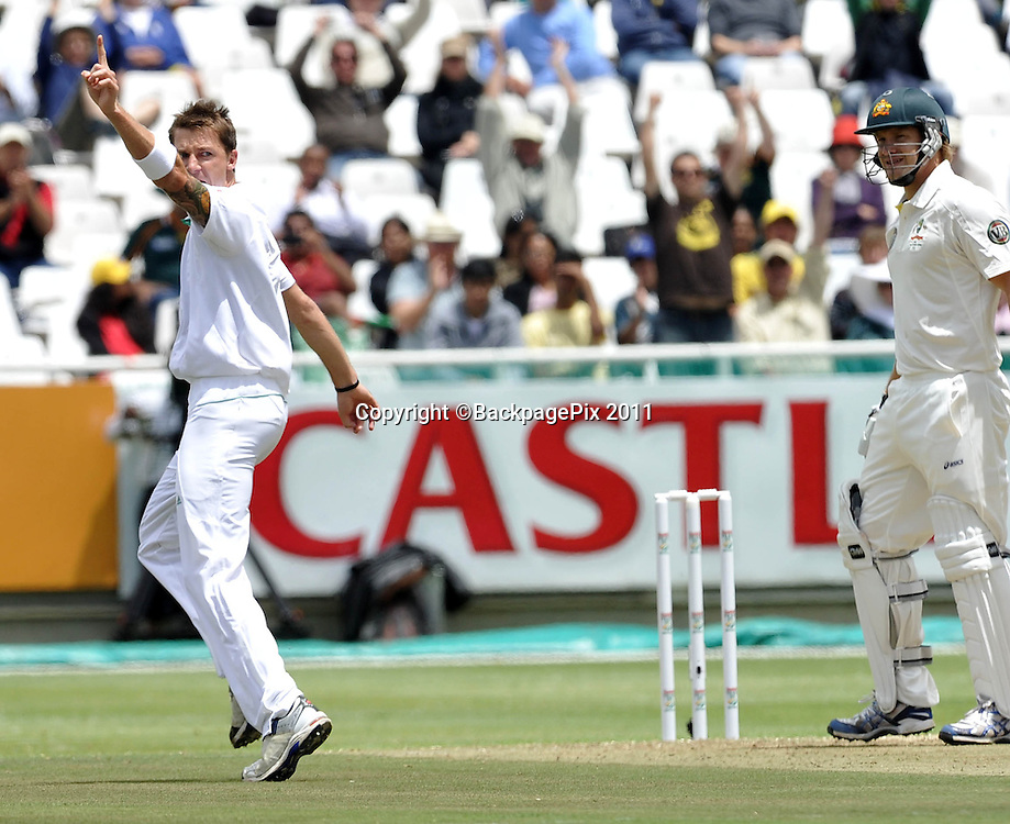 Dale Steyn of South Africa celebrates after picking up the early wicket of Shane Watson of Australia. South Africa v Australia, first test, day 1, Newlands, South Africa. 9 November 2011.<br /> <br /> &copy;Ryan Wilkisky/BackpagePix