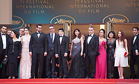Producer Zeynep Ozbatur Atakan, actress Hazar Erguclu, actor Dogu Demirkol, director Nuri Bilge Ceylan, Ayaz Ceylan, writer Ebru Ceylan, actor Murat Cemcir, actress Bennu Yildirimlar, actress Ozay Fecht, actress Asena Keskinci, actor Ahmet Rifat Sungar, at the The Wild Pear Tree (Ahlat Agaci) gala screening at the 71st Cannes Film Festival, Friday 18th May 2018, Cannes, France. Photo credit: Doreen Kennedy