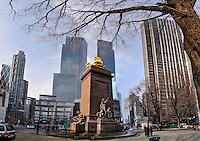 US, New York City. USS Maine Monument at Columbus Circle. Corner of Central Park, Manhattan. Stitched panorama.