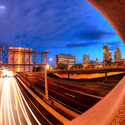 Motion blur of traffic from above 71 Highway running through downtown Kansas City, Missouri.