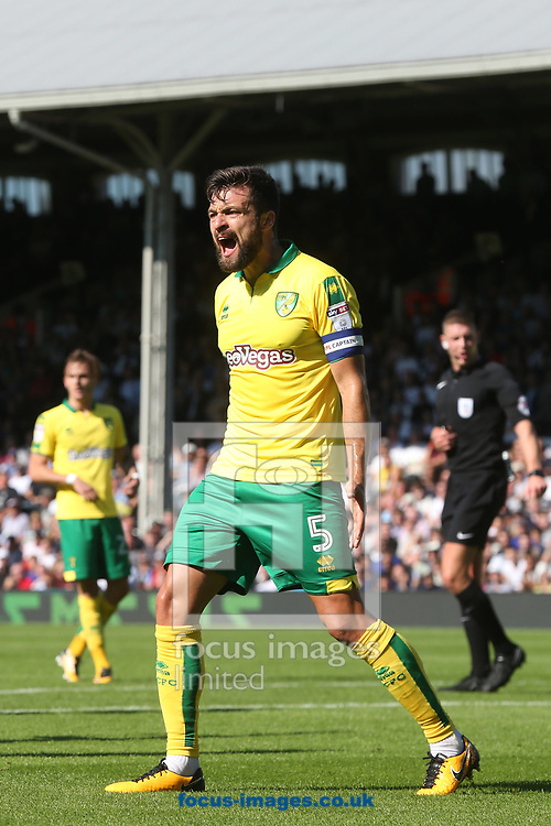 Russell Martin of Norwich appeals for a penalty for handball during the Sky Bet Championship match at Craven Cottage, London<br /> Picture by Paul Chesterton/Focus Images Ltd +44 7904 640267<br /> 05/08/2017