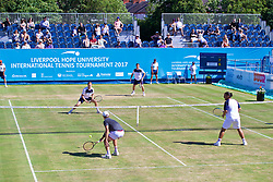 LIVERPOOL, ENGLAND - Sunday, June 18, 2017: Neal Skupski (GBR), Ken Skupski (GBR) face Robert Kendrick (USA) and Guillermo Cañas (ARG) during Day Four of the Liverpool Hope University International Tennis Tournament 2017 at the Liverpool Cricket Club. (Pic by David Rawcliffe/Propaganda)