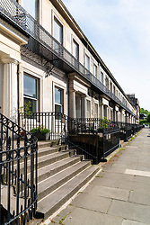 Terrace of  Georgian townhouses in Hillside district of Edinburgh, Scotland, UK