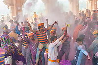 Dancing in the Shri Radha Rani Mandir (Hindu Temple),  Lathmar Holi (Holi, Festival of Colors), Barsana, near Mathura, Uttar Pradesh, India.