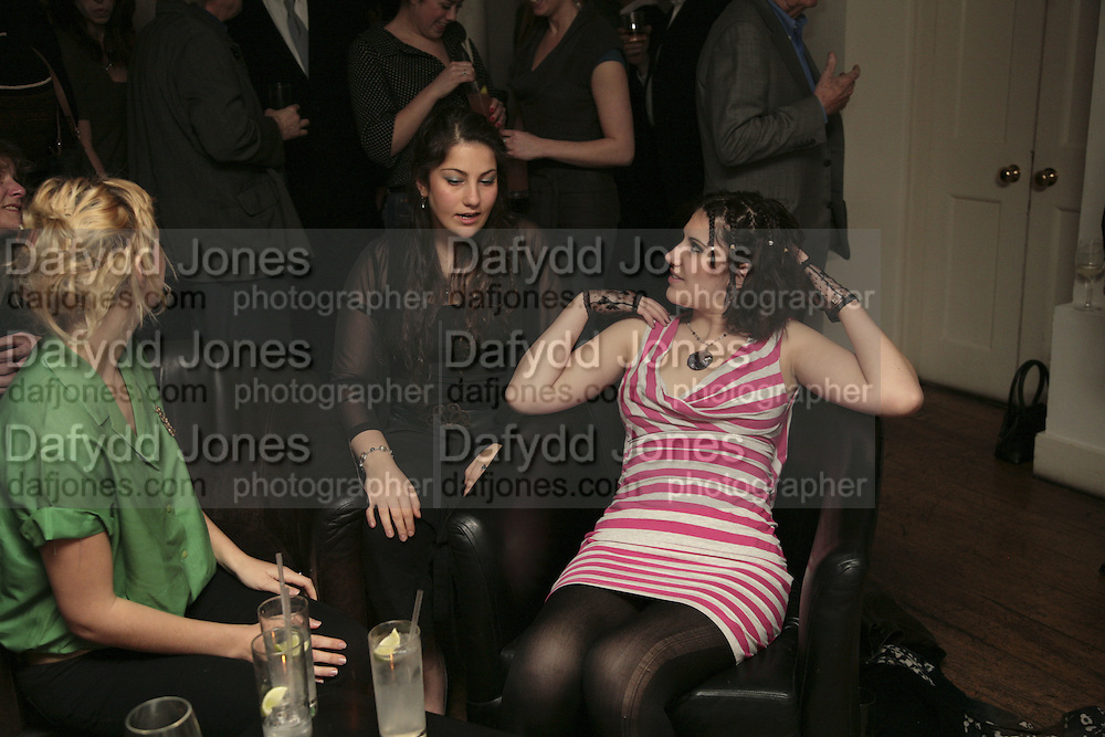 Corrie Barclay, Cevanne Horrocks-Hopayan and Nina Horrocks. Party to launch High Tide Writers Festival which will be held in Halesworth, Suffolk. Adam St. Club. 10 January 2007.  -DO NOT ARCHIVE-© Copyright Photograph by Dafydd Jones. 248 Clapham Rd. London SW9 0PZ. Tel 0207 820 0771. www.dafjones.com.