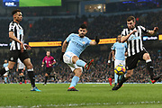 Sergio Aguero shoots during the Premier League match between Manchester City and Newcastle United at the Etihad Stadium, Manchester, England on 20 January 2018. Photo by George Franks.
