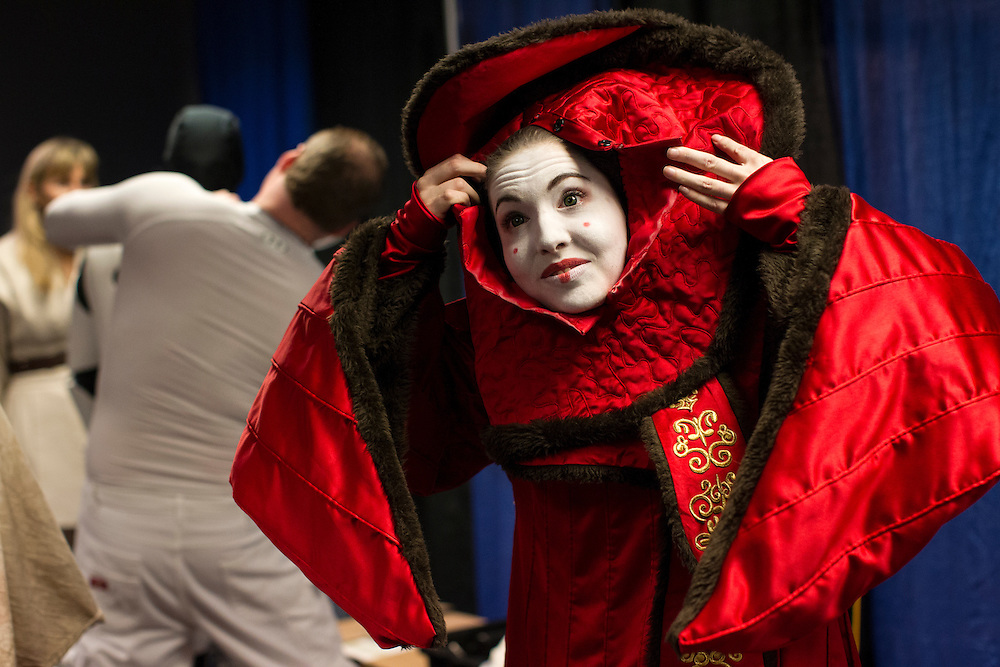 Jo O'Hanley of West St. Paul becomes Queen Amidala at Star Wars night at the Timberwolves game at Target Center in Minneapolis December 15, 2015.