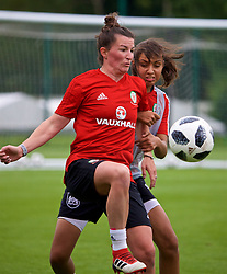 NEWPORT, WALES - Tuesday, June 5, 2018: Wales' Helen Ward (left) and Amina Vine (right) during a training session at Dragon Park ahead of the FIFA Women's World Cup 2019 Qualifying Round Group 1 match against Bosnia and Herzegovina. (Pic by David Rawcliffe/Propaganda)
