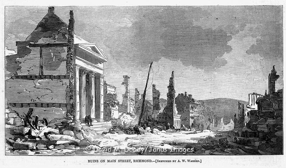 Civil War: Destruction in Richmond Virginia. Union forces occupy the capitol of the Confederacy.  Harper's Weekly April 22, 1865 page 252
