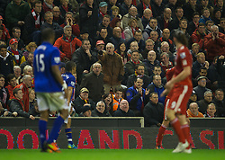 LIVERPOOL, ENGLAND - Tuesday, March 13, 2012: An elderly Liverpool supporter shouts at an Everton player during the Premiership match at Anfield. (Pic by David Rawcliffe/Propaganda)
