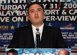 "March 25, 2008; New York, NY, USA;  Golden Boy Promotions CEO Richard Schaefer speaks at the press conference announcing the May 31, 2008 welterweight fight between ""Sugar"" Shane Mosley and Zab Judah.  The two will meet at Mandalay Bay in Las Vegas, NV."