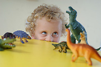 Picture By Jim Wileman  18/10/2006  Playing with dinosaurs at Ladybirds Nursery, Swimbridge, in North Devon.
