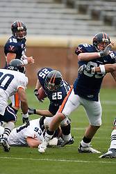 Virginia Cavaliers FB Josh Zidenberg dives for extra yardage on a carry during the UVA Spring game.  The University of Virginia Football Team played their Spring game at Scott Stadium in Charlottesville, VA on April 14, 2007.