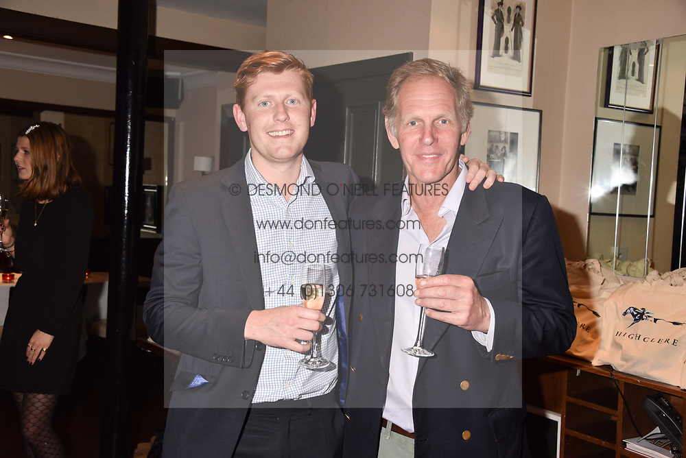 Alex Bell and his father trainer Michael Bell at The Tribe Syndicate launch party hosted by Highclere Thoroughbred Racing at Beaufort House, 354 King's Rd, London England. 25 April 2018.