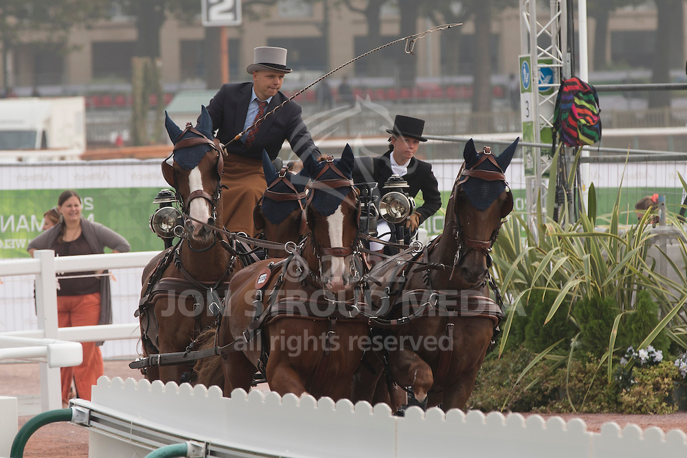 Glenn Geerts, (BEL), Antonio, Ozora Rangos, Red, Scampolo 49, Watapatja - Driving Cones - Alltech FEI World Equestrian Games&trade; 2014 - Normandy, France.<br /> &copy; Hippo Foto Team - Dirk Caremans<br /> 07/09/14