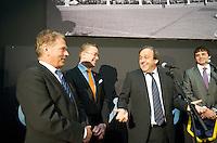 Michel Platini attend at opening of Turku-European Capital of Culture 2011. after his speech he answered to questions by journalist and audience. January 14th, 2011, Turku, Finland. .(L-R  Sauli Niinist, Stefan Wallin, Michel Platini-)