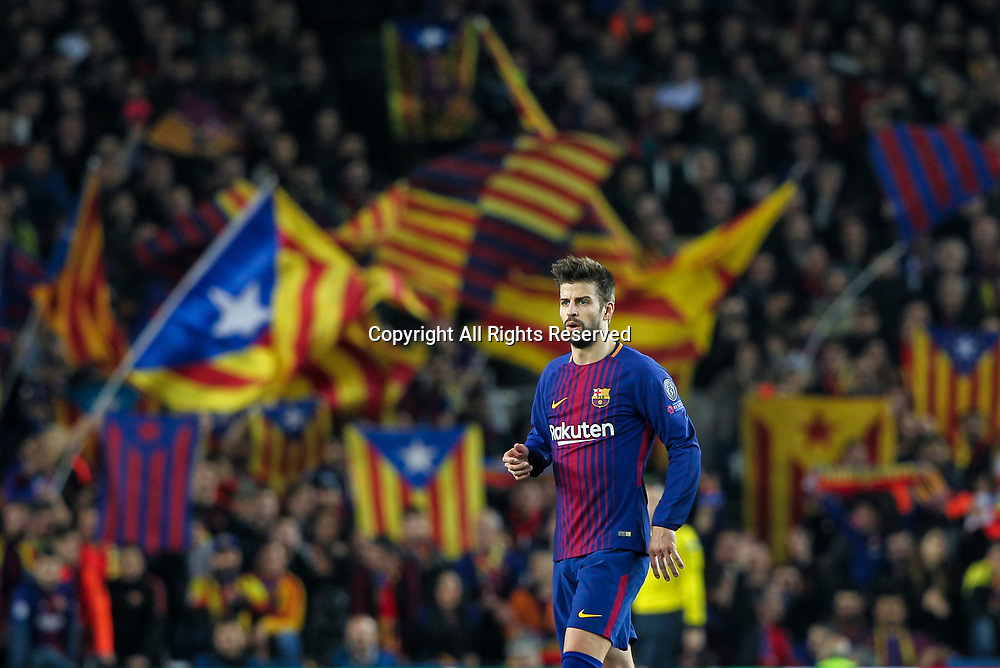 14th March 2018, Camp Nou, Barcelona, Spain; UEFA Champions League football, round of 16, 2nd leg, FC Barcelona versus Chelsea; Pique of Barcelona with Catalan independent flags behind him in the stands