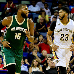 Nov 1, 2016; New Orleans, LA, USA; Milwaukee Bucks center Greg Monroe (15) and New Orleans Pelicans forward Anthony Davis (23) during the first quarter of a game at the Smoothie King Center. Mandatory Credit: Derick E. Hingle-USA TODAY Sports