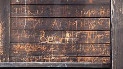 13.10.2017, Skimittelschule, Neustift im Stubaital, AUT, im Bild ins Holz eingeritzte Hinterlassenschaften der Internatsbewohner. Die weltweite Welle an Outings von Frauen Opfer sexueller Gewalt geworden zu sein mach auch vor Österrich nicht Halt. Nach den Aussagen der ehemaligen Skirennläuferin Nicola Werdenigg rückt die Skimittelschule (damals Skihauptschule) Neustift mit dem dazugehörenden Internat in den Mittelpunkt der derzeitigen Diskussionen // The worldwide outing-wave of women to be victims of sexual violence does not stop even before Austria. According to the statements of the former ski racer Nicola Werdenigg the ski school Neustift with the associated boarding gets in focus of the current public discussion, in Neustift im Stubaital, Austria on 2017/11/28. EXPA Pictures © 2017, PhotoCredit: EXPA/ Jakob Gruber