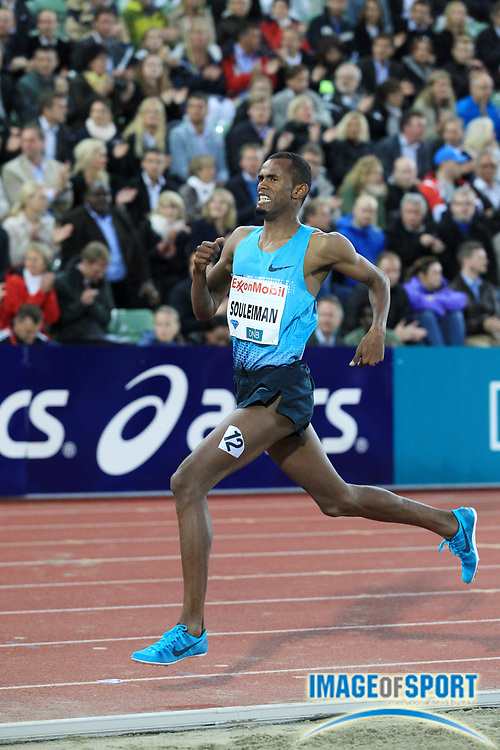 Jun 13, 2013; Oslo, NORWAY; Ayanleh Souleiman (DJI) wins the dream mile in 3:50.53 in the 2013 ExonMobil Bislett Games at Bislett Stadium. Photo by Jiro Michozuki