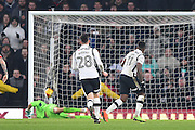 Derby County forward Darren Bent (11) scores from a penalty to make it 3-3 during the EFL Sky Bet Championship match between Derby County and Bristol City at the Pride Park, Derby, England on 11 February 2017. Photo by Jon Hobley.