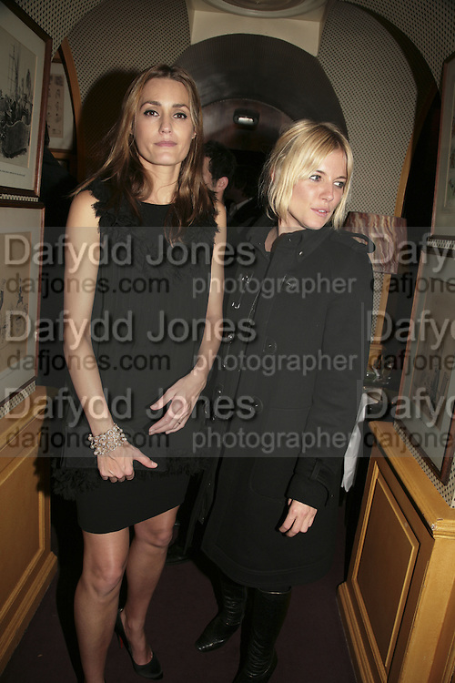 Yasmin Lebon and Sienna Miller Sienna Miller,  Charles Finch and Chanel 7th Anniversary Pre-Bafta party to celebratew A Great Year of Film and Fashiont at Annabel's. Berkeley Sq. London W1. 10 February 2007. -DO NOT ARCHIVE-© Copyright Photograph by Dafydd Jones. 248 Clapham Rd. London SW9 0PZ. Tel 0207 820 0771. www.dafjones.com.