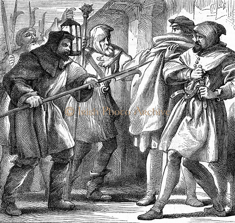 William Shakespeare 'Much Ado About Nothing', play first performed c1598.  Dogberry and Verges, local constables of the watch, with the night-watchmen, confronting Conrade and Borachio.  Illustration by Henry C Selous (1811-90) showing watch men with their pikes and lantern. There is evidence that the part of Dogberry was written for the Elizabethan comedian William Kemp or Kempe (d1603).  Wood engraving 1870.