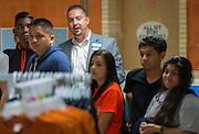 Walmart Market Human Resources Manager Nick Scribner talks about retail strategies with Scarborough High School students, May 22, 2014.