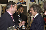 Dominic Lawson, Ben Okri and Griff rhys Jones. The Queen's celebration of the Arts. Royal Academy. 16 May 2002. © Copyright Photograph by Dafydd Jones 66 Stockwell Park Rd. London SW9 0DA Tel 020 7733 0108 www.dafjones.com