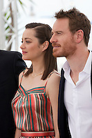 Actress Marion Cotillard, actor Michael Fassbender at the Macbeth film photo call at the 68th Cannes Film Festival Saturday 23rd May 2015, Cannes, France.