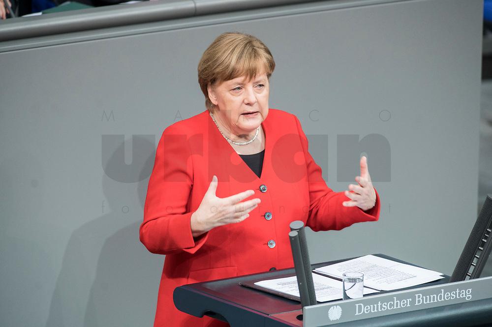 21 MAR 2019, BERLIN/GERMANY:<br /> Angela Merkel, CDU Bundeskanzlerin, waehrend einer  Regierungserklaerung zum Europaeischen Rat, Plenum, Deutscher Bundestag<br /> IMAGE: 20190321-01-043