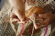 Barreirinhas_MA, Brasil.<br /> <br /> Processo de fabricao de artesanato de buriti no povoado de Marcelino. Na foto, artesa trabalha a fibra do Buriti usando um tear e a tecnica de Croche.<br /> <br /> The manufacture of handicrafts process in the Buriti Marcelino Village. <br /> In the photo, artisan works Buriti fiber using a loom and crochet technique.<br /> <br /> Foto: LEO DRUMOND / NITRO