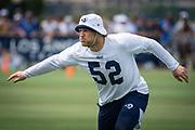 Aug 4, 2019, Irvine, CA, USA; Los Angeles Rams linebacker Clay Matthews (52) during training camp at UC Irvine. (Ed Ruvalcaba/Image of Sport)