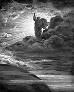 God creating light. Old Testament: Genesis. From Gustave Dore's illustrated 'Bible', 1866. Wood engraving