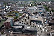 Nederland, Flevoland, Almere, 28-04-2010. Stadshart, omgeving stadhuis, met markt op het Stadhuisplein..City center, with City Hall and market..luchtfoto (toeslag), aerial photo (additional fee required).foto/photo Siebe Swart