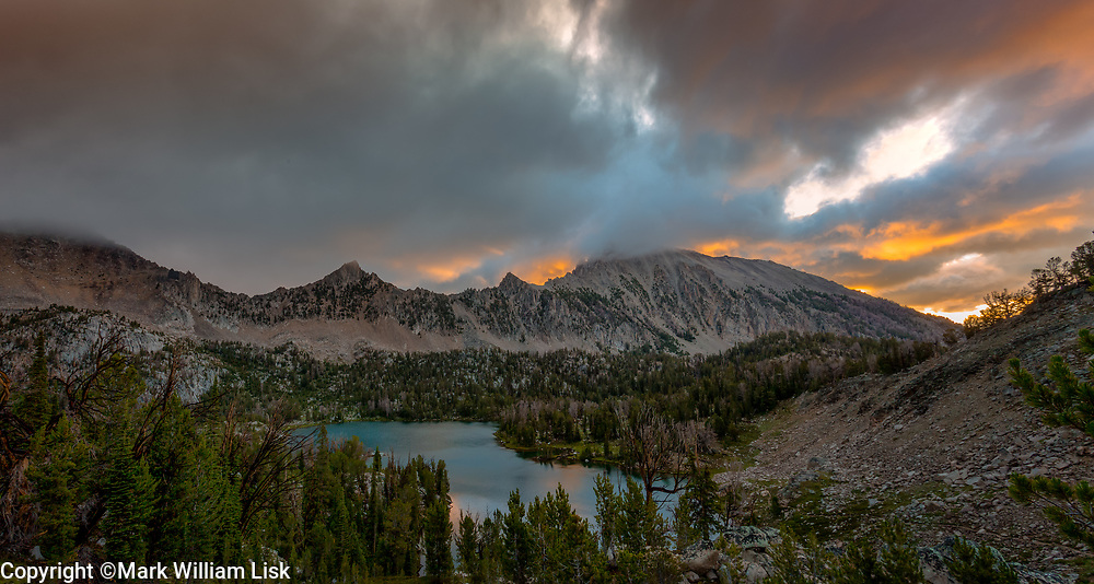 Clouds shroud the peaks above Hummock Lake in Idaho's White Cloud Wilderness.