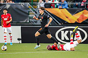 Manchester United midfielder Daniel James (21) leaves AZ Alkmaar defender Ron Vlaar (4) on the floor during the Europa League match between AZ Alkmaar and Manchester United at Kyocera Stadion, Den Haag, Netherlands on 3 October 2019.
