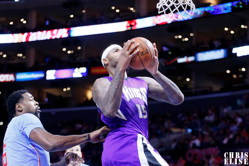 02 November 2014: Sacramento Kings center DeMarcus Cousins (15) goes for the layup during the Sacramento Kings 98-92 victory over the Los Angeles Clippers, at the Staples Center, Los Angeles, California, USA.