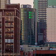 The newly completed One Light Tower residential highrise in downtown Kansas City, Missouri, in context with KCMO skyline.