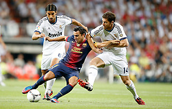29.08.2012, Estadio Santiago Bernabeu, Madrid, ESP, Supercup, Real Madrid vs FC Barcelona, Rueckspiel, im Bild Real Madrid's Sami Khedira and Xabi Alonso against Barcelona's Xavi Hernandez // during the Spanish Supercup 2nd Leg Match match between Real Madrid CF and Barcelona FC at the Estadio Santiago Bernabeu, Madrid, Spain on 2012/08/29. EXPA Pictures © 2012, PhotoCredit: EXPA/ Alterphotos/ Alvaro Hernandez..***** ATTENTION - OUT OF ESP and SUI *****