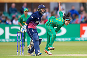 Pakistan womens cricket player Kainat Imtiaz bowls during the ICC Women's World Cup match between England and Pakistan at the Fischer County Ground, Grace Road, Leicester, United Kingdom on 27 June 2017. Photo by Simon Davies.