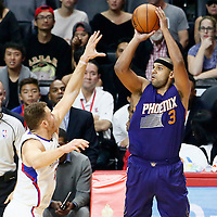 31 October 2016: Phoenix Suns forward Jared Dudley (3) takes a jump shot over Los Angeles Clippers forward Blake Griffin (32) during the Los Angeles Clippers 116-98 victory over the Phoenix Suns, at the Staples Center, Los Angeles, California, USA.