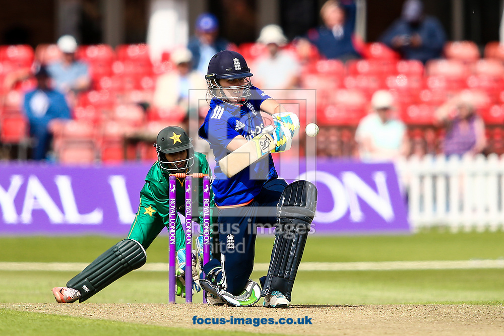 Natalie Sciver of England during the Royal London One Day Series match at Fischer County Ground, Leicester<br /> Picture by Andy Kearns/Focus Images Ltd 0781 864 4264<br /> 21/06/2016