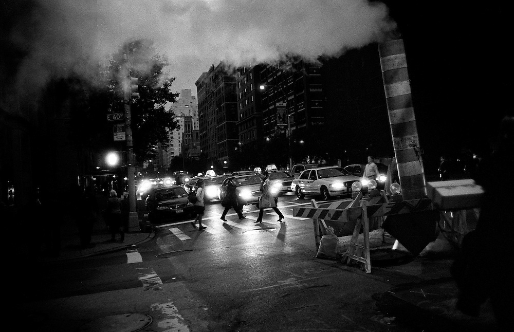 """Businesspeople crossing street at night in Manhattan...""""I See A Darkness"""" - Oct and Nov 2007..."""