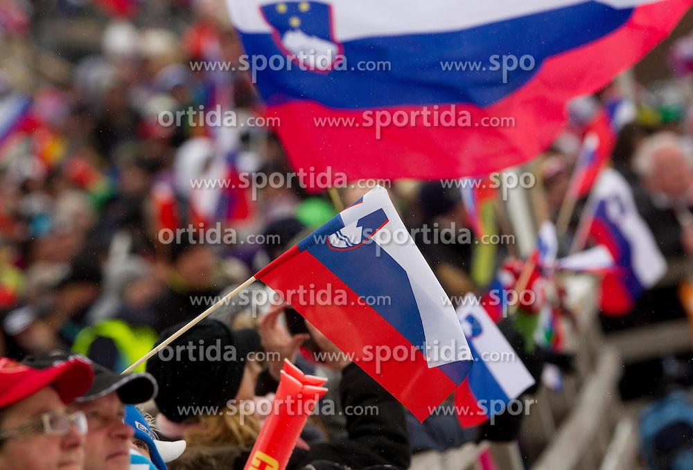 Supporters of Slovenia during the Flying Hill Individual Event at 4th day of FIS Ski Jumping World Cup Finals Planica 2013, on March 24, 2013, in Planica, Slovenia. (Photo by Vid Ponikvar / Sportida.com)