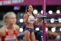 London, August 12 2017 . Katarina Johnson-Thompson, Great Britain, celebrates a clearance in the women's high jump final on day nine of the IAAF London 2017 world Championships at the London Stadium. © Paul Davey.