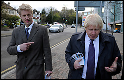 The Mayor Boris Johnson with his brother Jo Johnson MP For Orpington out campaigning on the streets of on their way to a rally in Orpington to support Boris's Mayoral Campaign, during his Mayoral campaign,  Tuesday April 17, 2012. Photo By Andrew Parsons/i-Images
