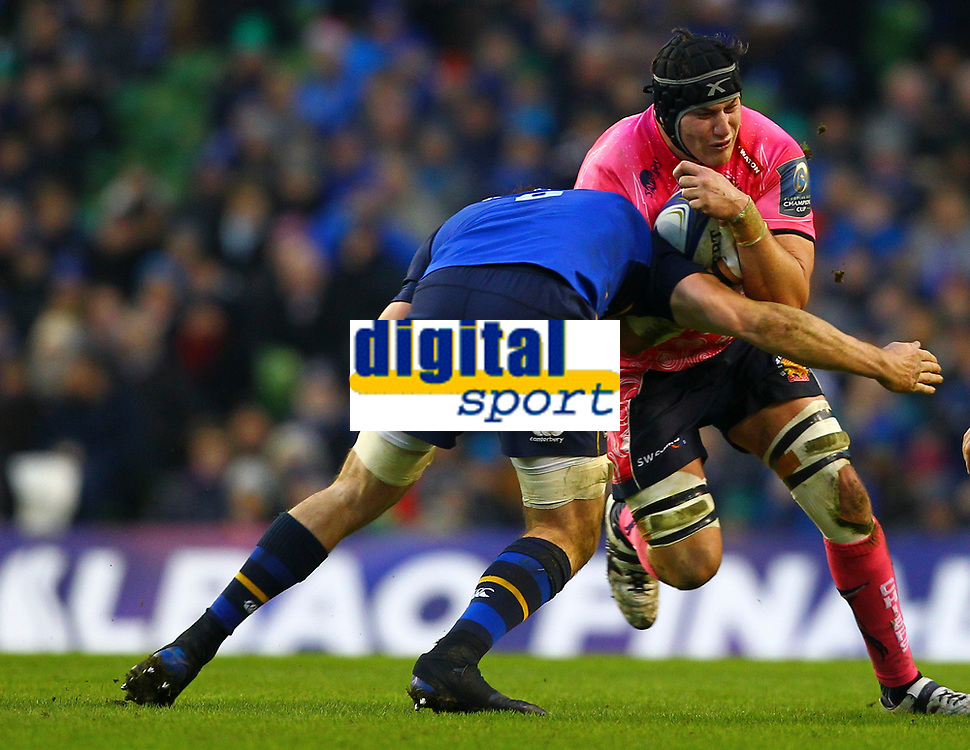 Rugby Union - 2017 / 2018 European Rugby Champions Cup - Pool Three: Leinster vs. Exeter Chiefs<br /> <br /> Exeter's Mitch Lees in action against Leinster's Jack Conan, at Aviva Stadium, Dublin.<br /> <br /> COLORSPORT/KEN SUTTON