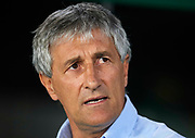 SEVILLE, SPAIN - SEPTEMBER 25:  Head Coach of Real Betis Balompie Quique Setien looks on during the La Liga match between Real Betis and Levante at Estadio Benito Villamarin on September 25, 2017 in Seville, .  (Photo by Aitor Alcalde Colomer/Getty Images)