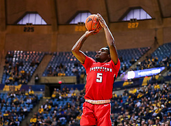 Dec 1, 2018; Morgantown, WV, USA; Youngstown State Penguins guard Kendale Hampton (5) shoots a three pointer during the first half against the West Virginia Mountaineers at WVU Coliseum. Mandatory Credit: Ben Queen-USA TODAY Sports